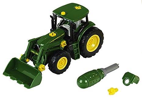 Theo Klein-3903 John Deere Tractor con Cargador Frontal y Pesa, Juguete, (