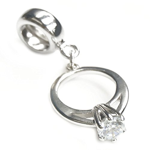 Sterling Silver Engagement Wedding Ring Clear Cubic Zirconia Dangle Bead For European Charm Bracelets