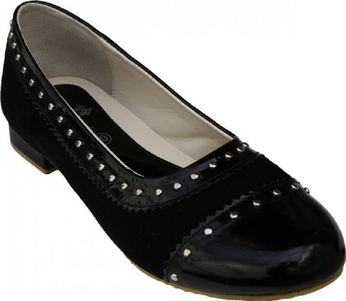 Genuine Suede Ballerina, Smooth Leather in Black With Studs