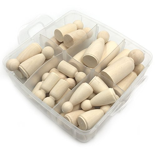 Amyster 30pcs Solid Hard Wood People Different Size Natural Unfinished Ramp Preparation Paint or Stained Wooden Family Wood Peg Dolls DIY Crafts Set (A158)