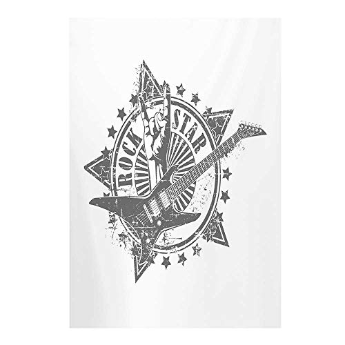 (Guitar Stylish Backdrop,Stars with Rock Sign Monochrome Musical Instrument Design Rockstar Life Singing for Photography,59