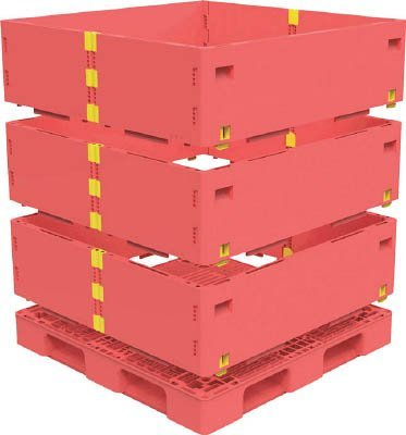トラスコ中山 マルチステージコンテナ 3段 1100X1100 赤 (1S) TMSC-S1111-R B01E4S0RBK