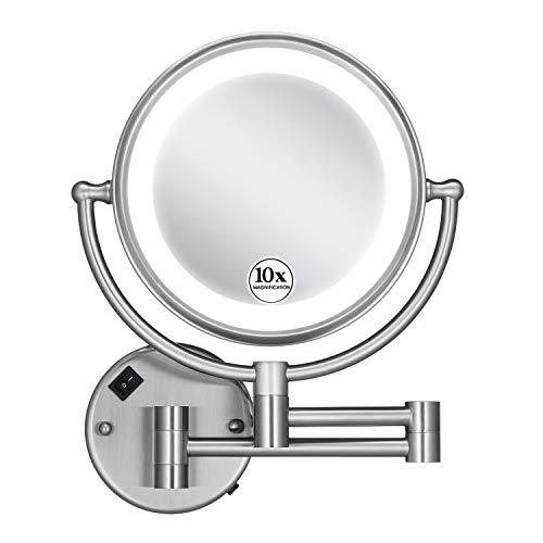 GloRiastar 10X Wall Mounted Makeup Mirror - Double Sided Magnifying Makeup Mirror -