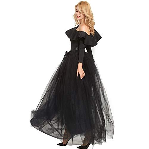 Chartou Womens Elastic High Waist Belt Tied Full Length Tutu Petticoat Tulle Puffy Skirt (Black, One Size) ()