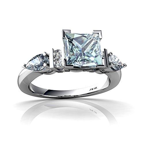 Square Aquamarine 3 Stone Ring - 14kt White Gold Aquamarine and Diamond 5x3mm Pear Engagment Ring - Size 9
