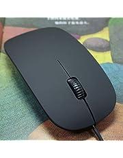 ماوس ضوئي مايس رفيع وصغير الحجم بسلك 2.0 USB اسود اللون لاجهزة ماك وويندوز واوفيس