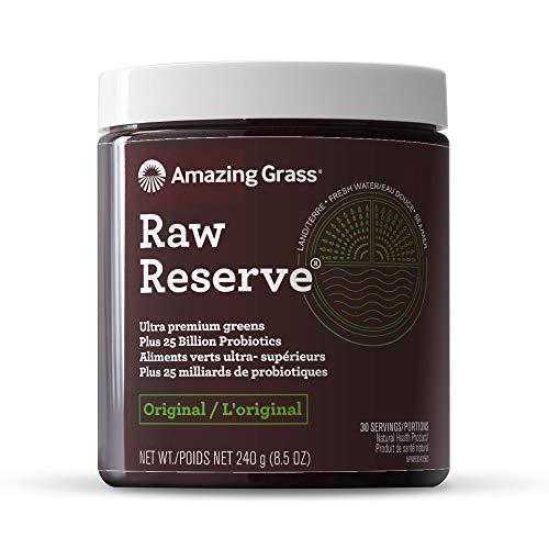 Amazing Grass Raw Reserve: Ultra Premium Greens and Probiotics, 2.5 Servings of Greens per Scoop, Original Flavor, 30 Servings