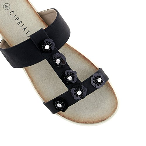KD Sandals Flower Black Shimmer L522A 8 UK Ladies EU 41 Mule Diamante Cipriata a68SwY