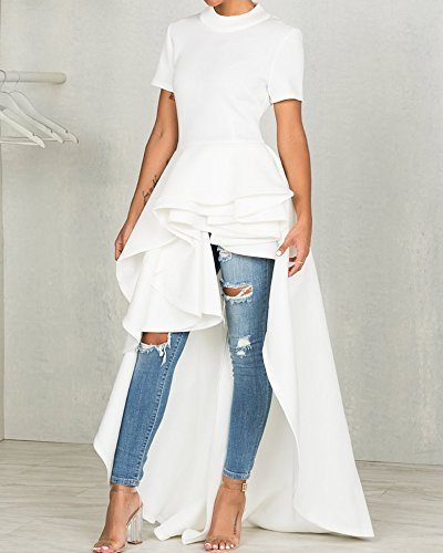 Maxi Top Peplum Short Runway Club High Swallowtail Low Party Ruffle for Sleeve Dress Misassy Dresses White Womens qwXYxXA