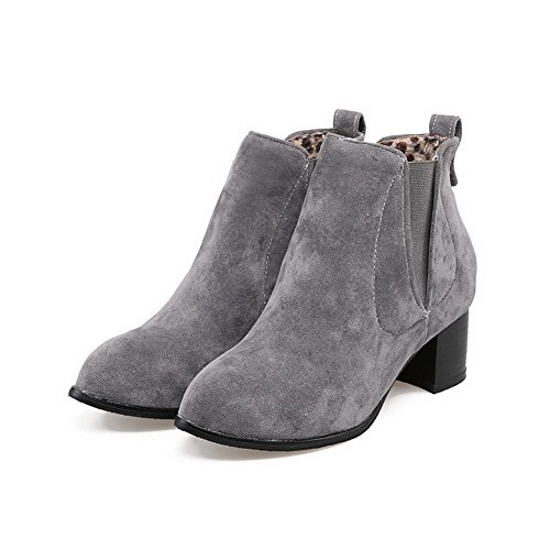 Allhqfashion Women's Round Closed Toe Kitten Heels Frosted Solid Pull On Boots Gray Fj0vJl6gZJ