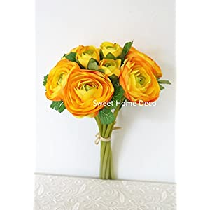 Sweet Home Deco 11'' Silk Ranunculus Artificial Flower Bouquet 9 Stems for Wedding/ Home Decorations (Orange) 93