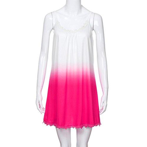 ... AMUSTER Damen Hemdkleid T-Shirt Blusenkleid T-Shirt Kleid Sommerkleid  Kleider Frauen Rundhals Ärmellos da3f4c9225