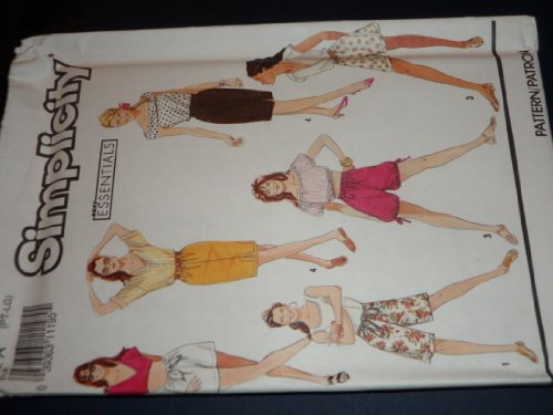 Simplicity 7230 Sewing Pattern for misses 6-20 OR XS S M L Above Knee Shorts in 2-lengths with Double Back Elastic Casing and Optional Front Extensions for Tie,or Full Cut Pull-on Shorts with Drawstring Leg Hems or Mini Skirt with Front Vent Double Leaf Extensions
