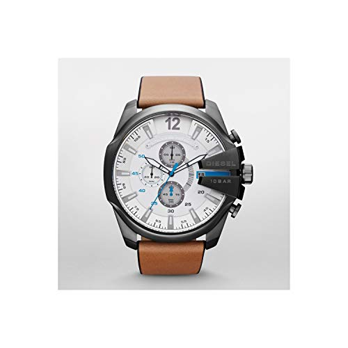 Diesel Brown Leather - Diesel Men's DZ4280 Mega Chief Gunmetal Brown Leather Watch