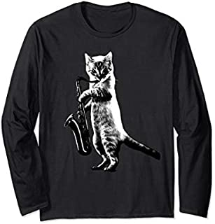 Funny Cat Tee- Cat playing saxophone Long Sleeve T-shirt | Size S - 5XL