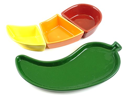 (Fiesta Chili Pepper Tray with Stackable Dip Salsa Bowl Dish Set)