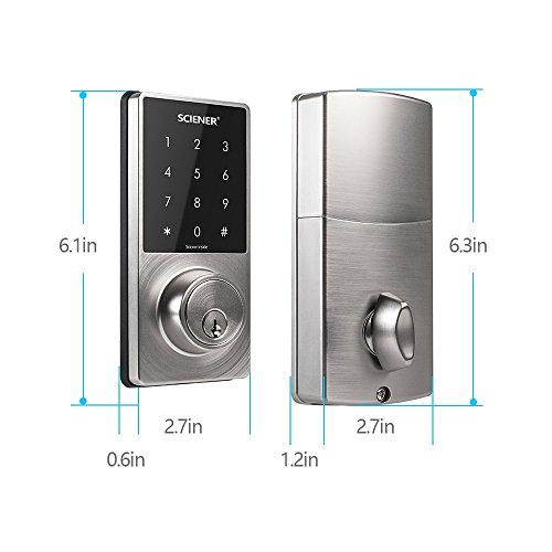 Sciener Digital Smart Lock, Bluetooth Enabled APP Touchscreen Keyless Entry Door Lock, Easy to Install,Silver by sciener (Image #2)