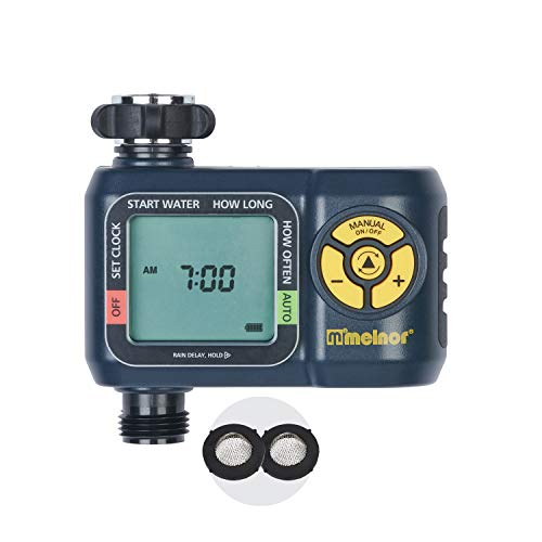 Melnor 65034-AMZ AquaTimer Digital Water Timer with 2 Stainless Steel Filter Washers Set, 1-Zone