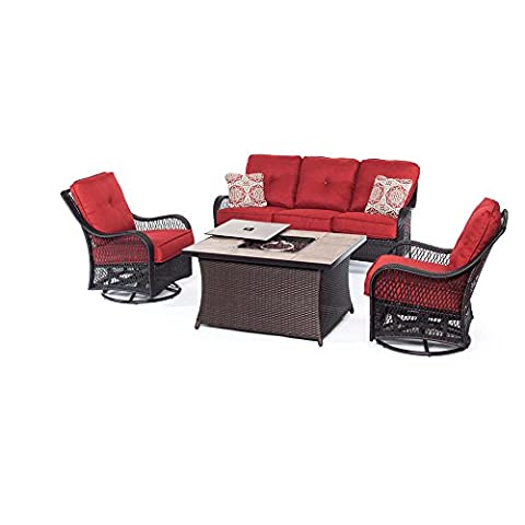 Hanover Outdoor Orleans 4 Piece Woven Lounge Set with Fire Pit Table, Autumn Berry - Orleans Patio Furniture