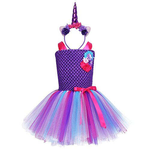 ranrann Kids Girls Flower Mesh Tutu Dress with Hair Hoop Outfits Halloween Party Cosplay Costume Purple D 3-4 ()
