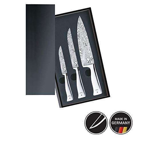 WMF Grand Gourmet Messerset 3teilig, 3 Damastmesser geschmiedet, Damaststahl 120-lagig, Made in Germany, Performance Cut, Holzkassette