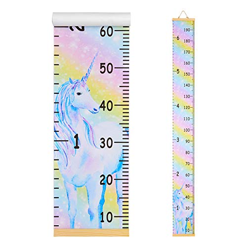 Beinou Wall Growth Chart Wood Frame Height Measurement 7.9'' x 79'' Canvas Hanging Wall Scale Rulerfor Kids and Adults Rainbow Unicorn Wall Decor Height Measure Chart ()