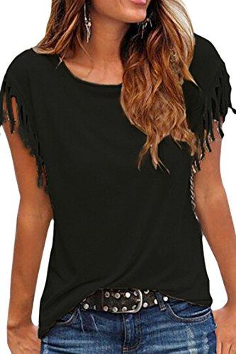 Cutiefox Womens Summer Soft Short Sleeve Tassel T Shirt Tops Blouse Black M