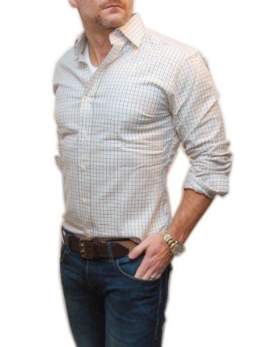 Polo Ralph Lauren Men Regent Classic Fit Plaid Shirt (16(34-35), White/yellow/black)