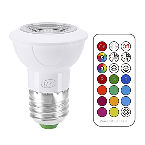 iLC LED Light Bulbs Color Changing E26 Screw 45°, 12 Colors 3W Dimmable Warm White 2700K RGB LED Spot Light Bulb with Remote Control, 20 Watt ()