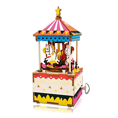 Hands Craft AM304 3D Wooden Puzzle - DIY Hand Crank Music Box- Merry-go-Round Brain Teaser Toy- Plays You are My Sunshine for Kids/Adults for Christmas, Birthday, Baby Shower, Valentin