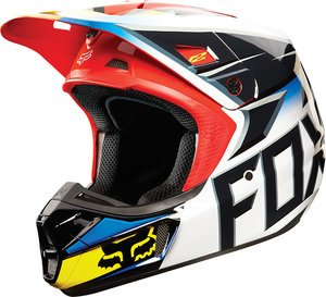 Fox Racing Race Men's V2 Motocross Motorcycle Helmet - Black/Red / X-Large (Black V2 Race Helmet)