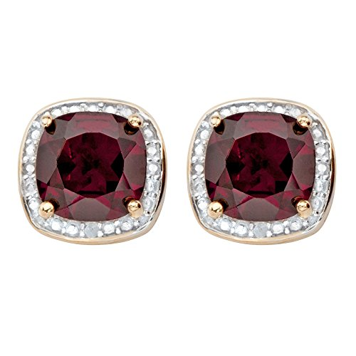 Genuine Red Garnet and Diamond Accent 14k Gold-Plated .925 Silver Halo Stud Earrings