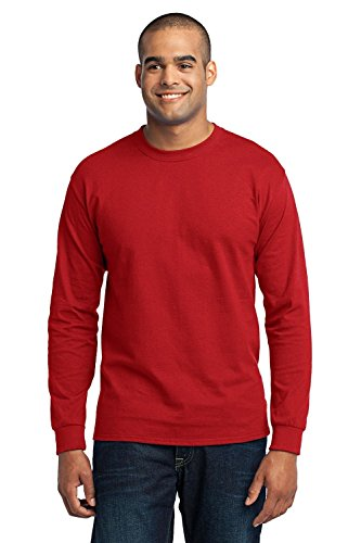 Port & Company Men's Tall Long Sleeve 50/50 Cotton/Poly T Shirt 4XLT (Big Rack Outfitters)