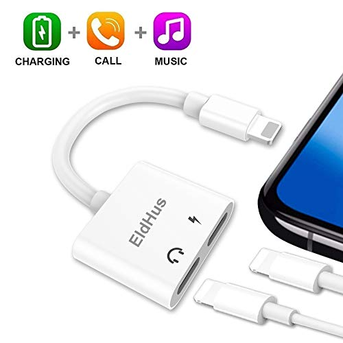 EldHus Dual Ports Headphone Jack Adapter, 2 in 1 Headphone Adapter Dual Port Audio and Charge Splitter Aux Cable Charger Compatible with IP XS/XR/XS Mas,IP 7/8/X/7 Plus/8 Plus