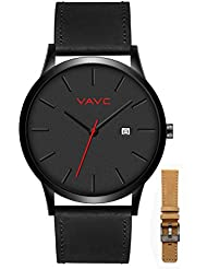 VAVC Mens Black Leather Band Causal Analog Dress Quartz Wrist Watch with Black Face and Simple Design