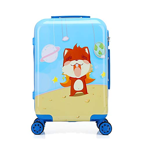 Children Luggage Rolling Suitcase Trolley Box Kids Carry On Boarding Case Cute Cartoon Animals Universal Wheel Zipper ABS+PC Boys Girls Hardside Travel Storage Box (squirrel, 18 inch) (Storage Blue Squirrel)