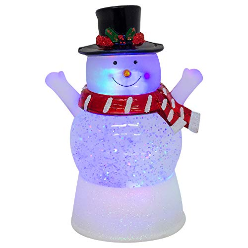 Snowman Snowglobe Christmas Figurine - Elanze Designs Happy Snowman LED Light-up Glitter Swirl 100MM Water Globe Christmas Figurine