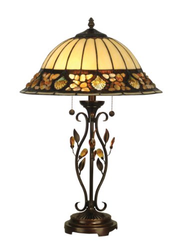 Dale Tiffany Antique Table Lamp - Dale Tiffany TT90172 Pebblestone Table Lamp, Antique Golden Sand and Art Glass Shade