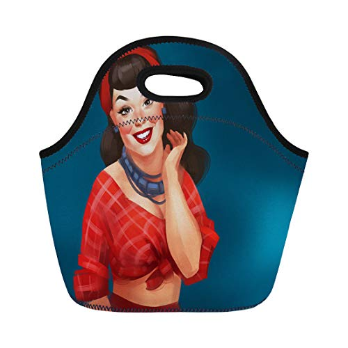 Semtomn Lunch Tote Bag Retro Pin Up Woman Red Cheeks Long Black Wavy Reusable Neoprene Insulated Thermal Outdoor Picnic Lunchbox for Men Women ()