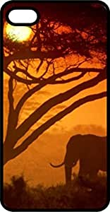 Elephant In Sunset With Tree Black Rubber Case for Apple iPhone 6 Plus