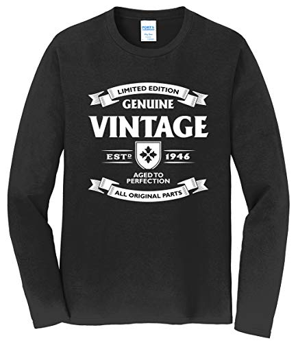 Tenacitee Men's Aged to Perfection - 1946 Long Sleeve T-Shirt, X-Large, Black from Tenacitee