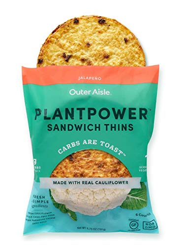 Outer Aisle Gourmet Cauliflower Sandwich Thins | Low Carb, Paleo Friendly, Keto | Jalapeno, 4 pack - 24 Thins