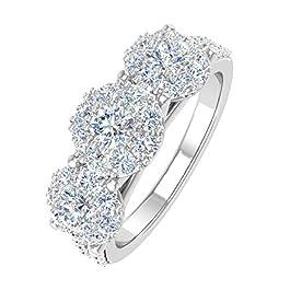 1 Carat 3-Stone Prong Set Diamond Engagement Ring in 10K Solid Gold – IGI Certified