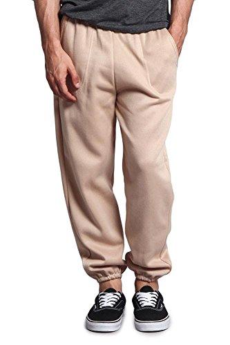 G-Style USA Men's Elastic Cuff Fleece Sweatpants - HILLSP - BEIGE - Medium - GG1H