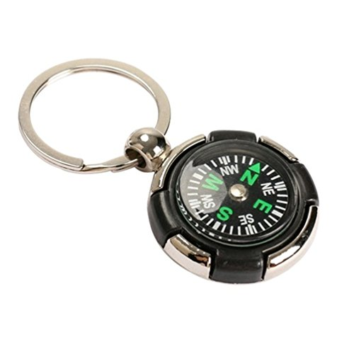 ODETOJOY Small Compass Keychain Metal Key Chain For Outdoor Camping Hiking Climbing Key Rings - Compass Key