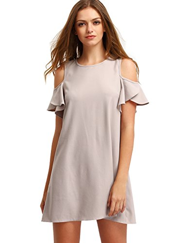 Milumia Women's Summer Cold Shoulder Ruffle Sleeves Shift Dress Nude XL