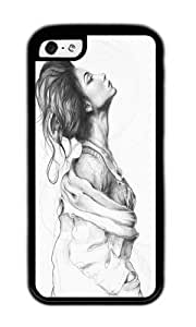 Apple Iphone 5C Case,WENJORS Cute Pretty Lady Illustration Soft Case Protective Shell Cell Phone Cover For Apple Iphone 5C - TPU Black