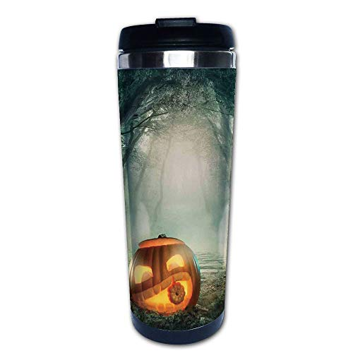 Stainless Steel Insulated Coffee Travel Mug,Halloween Pumpkin Enchanted Forest Mystic Twilight,Spill Proof Flip Lid Insulated Coffee cup Keeps Hot or Cold 13.6oz(400 ml) Customizable printing -
