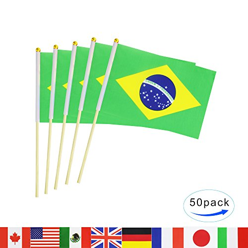 LoveVC Brazil Stick Flag,50 Pack Hand Held Small Mini Brazilian Flag With Wood Pole International Countries World Flags Banner On Sticks For Party Decorations,World Cup,School Events,Sports Clubs