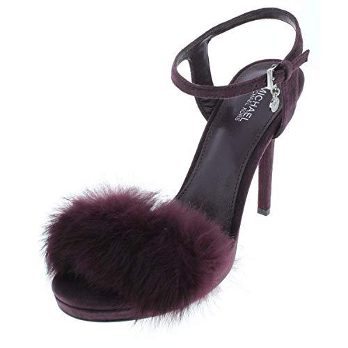 Sandals Toe Kors Michael Open (MICHAEL Michael Kors Womens Faye Faux Fur Open Toe Evening, Damson, Size 7.0)